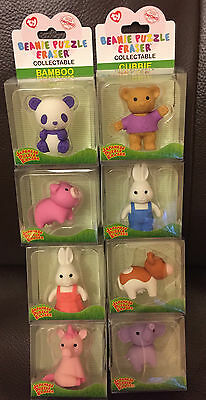 8 Ty Beanie Puzzle Eraser Collection Of Rubbers Mystic Unicorn
