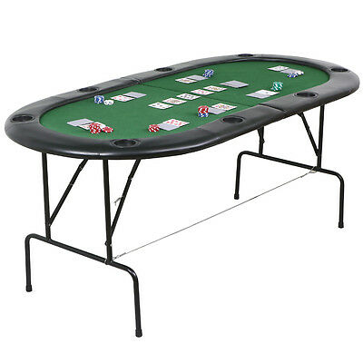 Folding Poker Table Top 8 Players Blackjack Table Casino Chip Tray 180 x 91cm