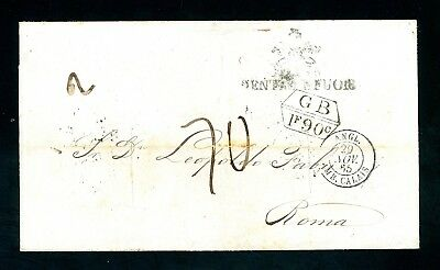 1865 Cover  London Transit Guayaquii to Rome 'Slits' for Cholera   (O1251)