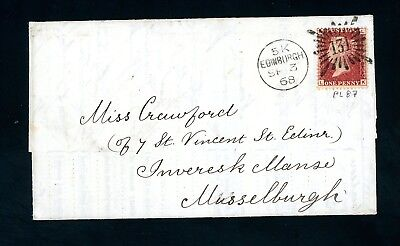 1868  Cover  '131' Edinburgh Brunswick Star to Mussleburgh   (O1253)