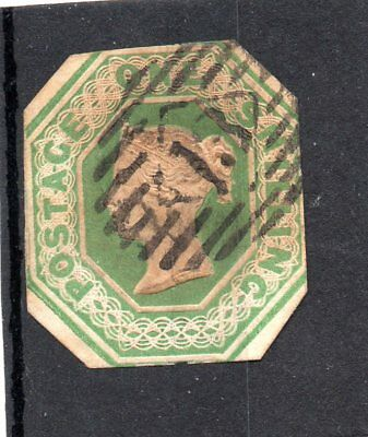 Victoria 1/- Green Embossed Sg 55 Cut To Shape