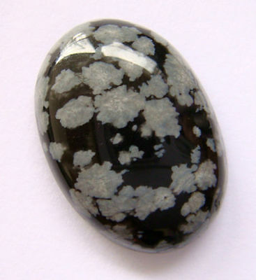 HUGE 25x18mm OVAL CABOCHON-CUT NATURAL AFRICAN SNOWFLAKE OBSIDIAN GEMSTONE