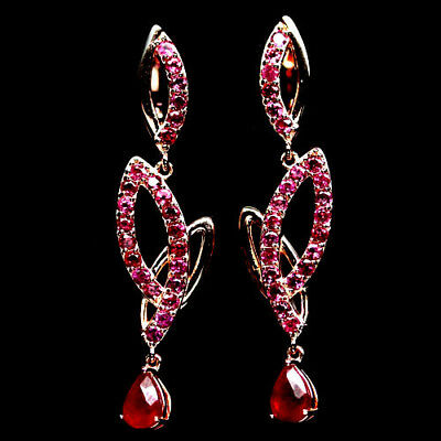 Impressive! Natural! Red Ruby & Rhodolite Garnet Sterling 925 Silver Earrings