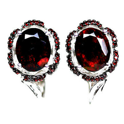 DELIGHTFUL! NATURAL! 8 X 10mm. ORANGE RED GARNET STERLING 925 SILVER EARRINGS