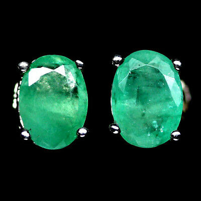 ALLURING! NATURAL! 5 X 7mm. GREEN EMERALD STERLING 925 SILVER EARRINGS