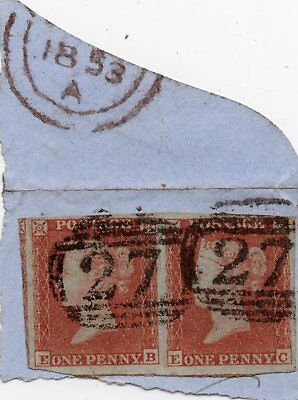 VICTORIA SG8 Id RED IMPERF PAIR ON PIECE WITH FOUR MARGINS