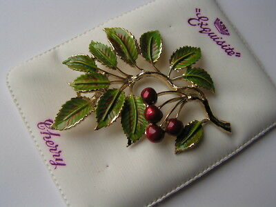 B'ful Lge Vtg 1950's Enamel Cherry Brooch By Exquisite Still On Original Pad