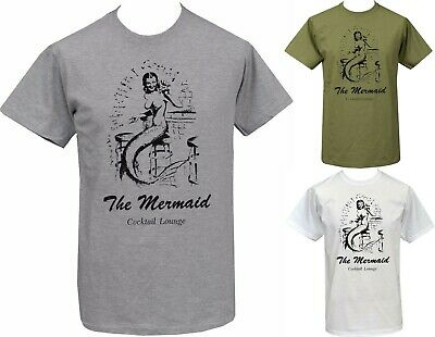 MENS WHITE T-SHIRT VINTAGE MERMAID COCKTAIL 40's 50's SAILOR TATTOO ADVERT S-5XL