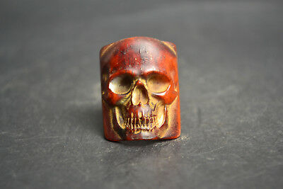 Collectible Chinese Tibet Style Decor Totem Skull Noble Bone Carving Ring