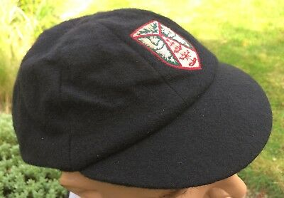 Black Wool School Cap With Dimensional Embroided Badge Size 7 1/8