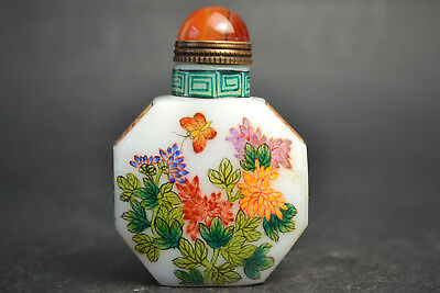 China Collectible Decor Old Glass Coloured Painting Exquisite Snuff Bottle