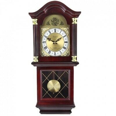 """New Bedford Antique Mahogany Cherry Oak Wall Clock with Pendulum and Chimes 26"""""""