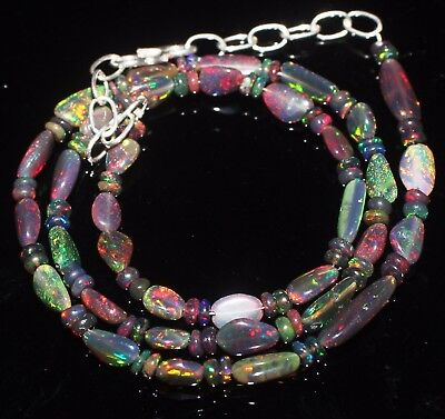 "30 Ctw 16 ""Ethiopian Fire Opal Black Tumble With roundel Beads Necklace *S835"