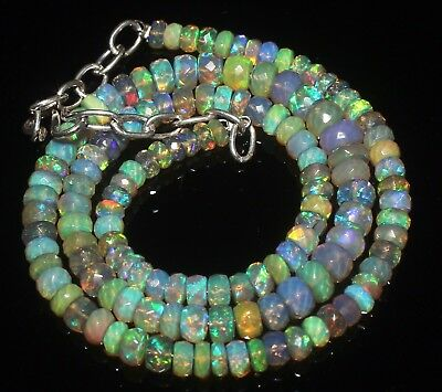 "67 Crts 4 to 6 mm 16""Faceted Beads necklace Ethiopian Welo Fire Opal R6493"