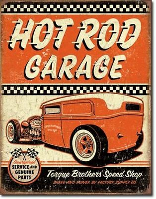 Blechschild Hot Rod Garage Rat Rod Auto Rockabilly Werkstatt Reklame 40 x 30 cm