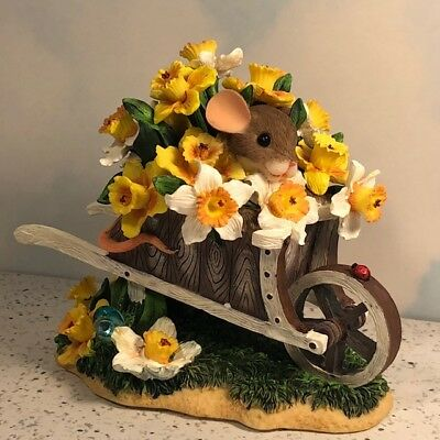 Charming Tails Mice Mouse Figurine Statue Flowers Seasons Over Flowing Beauty