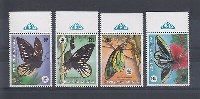 Timbre Stamp 4  Papouasie Y&t#569-72 Papillon Butterfly Neuf**/mnh-Mint 1988~A66