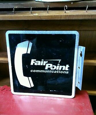 "VINTAGE Fair Point TELEPHONE Metal SIGN Double Sided Flange 12"" x 12""."