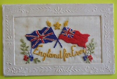 1914-1918 WORLD WAR 1 SILK Postcard FLAGS ENGLAND FOR EVER