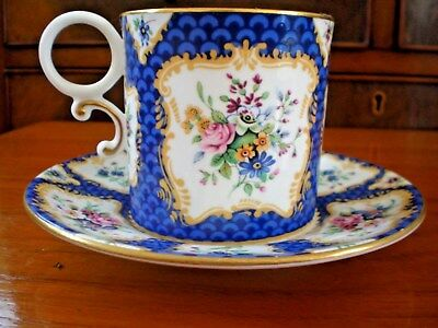 Royal Worcester Cabinet Coffee Cup and Saucer Scale Blue floral panels gilding