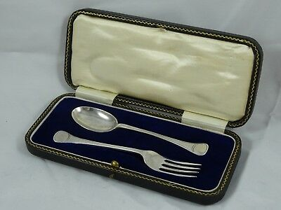 BOXED solid silver SPOON & FORK SET, 1930, 30gm
