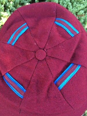 Vintage Burgundy & Sky Blue Trimmed Peak School Cap