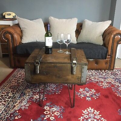 A Vintage Old Wooden Pine Trunk Chest Box Coffee Table Rustic Industrial Antique