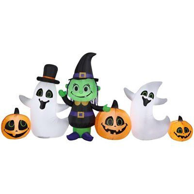 8.9 ft long Halloween Airblown Inflatable witch, ghost, pumpkin