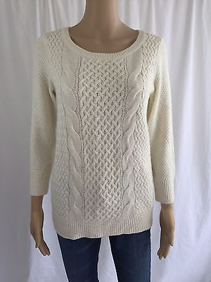 NEW ANN TAYLOR LOFT White Cable Knit Sweater Small Wool Angora Blend 3/4 Sleeve
