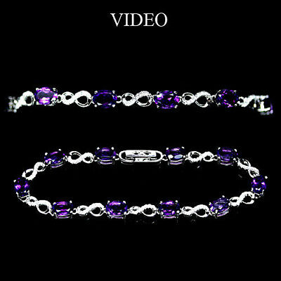 Beautiful! Natural! Purple Amethyst & White Cz 925 Silver Bracelet