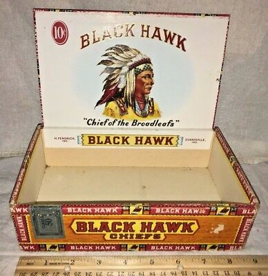 Antique Wood & Cardboard Cigar Box Vintage Tobacco Black Hawk Indian Chief Old
