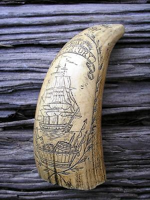 SCRIMSHAW REPLICA RESIN Sperm WHALE TOOTH The Ship Mercury in Antique Finish