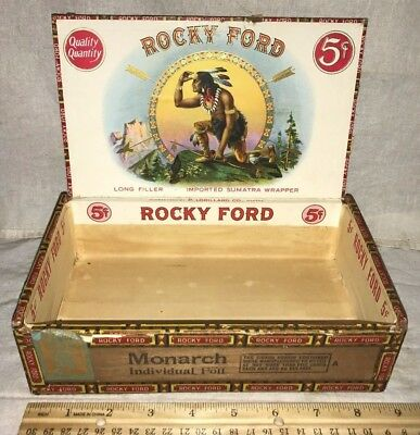 Antique Wood Cigar Box Vintage Tobacco Rocky Ford Native American Indian Brave
