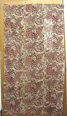 Antique Beautiful Early 19th C. French Block Print Fabric (9459)