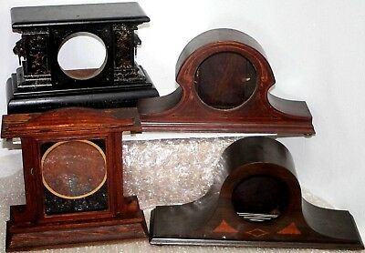Lot Of Antique Victorian Mantel Clock Cases W/ Inlay, Lion Heads, Painted Glass.