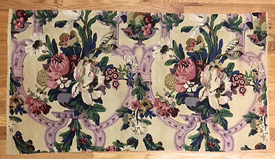 Vintage 1930's French or English Linen Floral Damask Fabric (2031)