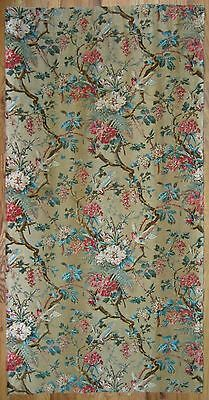 Antique Beautiful 19th c. Floral Botanical printed cotton fabric (9952)