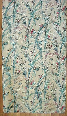 Antique Beautiful 19th C. French Cotton Bird Print Floral Fabric  (9971)