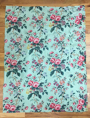 Antique 19th Century French Floral Cotton Chintz Printed Fabric (2039)