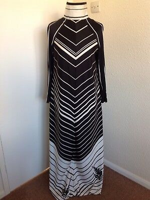 AYELET Black/White Stripe Vintage/Retro Maxi Dress UK12/14