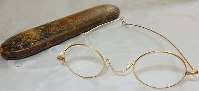 ANTIQUE 19th CENTURY PAIR OF SPECTACLES GLASSES - LONG STRAIGHT - ROUND LENS