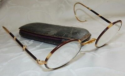 ANTIQUE 19th CENTURY PAIR OF SPECTACLES GLASSES - TORTOISESHELL ROUND LENS CASED
