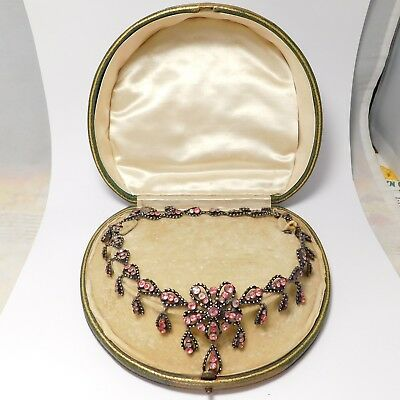 French Paste Georgian Sterling Silver Enamel Antique Necklace