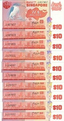Singapore Government Singapore  $10 ND  bird series  Choice UNC  10 pcs
