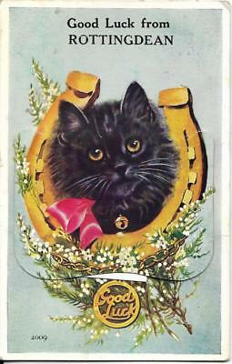 ROTTINGDEAN, Lucky Black Cat pullout old postcard, Sussex