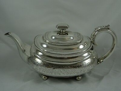 PRETTY, GEORGE IV solid silver TEA POT , 1824, 516gm