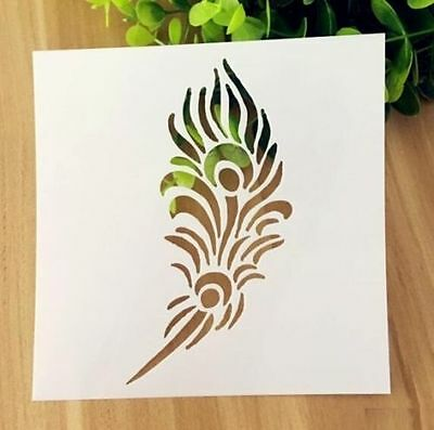Feather Pattern Layering Stencil Template DIY Scrapbooking Home Decorate Gift ~