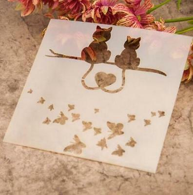 Cat Butterfly Pattern Layering Stencil Template DIY Scrapbooking Home Decorate ~