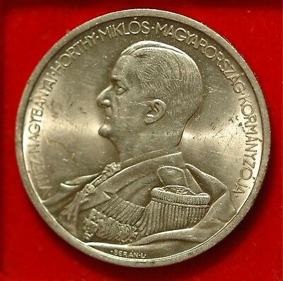Hungary 5 Pengo 1939 Admiral Miklos Horthy UNC SILVER KM#517 (Tray 89)