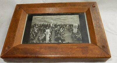 ANTIQUE 19th CENTURY WOODEN PICTURE FRAME - SHIPPING PHOTOGRAPH - NICE UNUSUAL